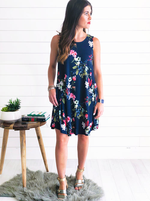 Navy Floral Print Shift Dress