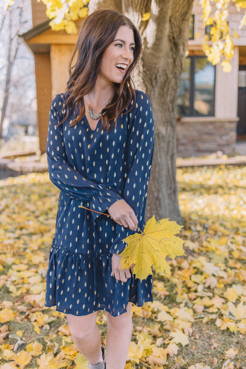 Navy Gold Foil Print Dress