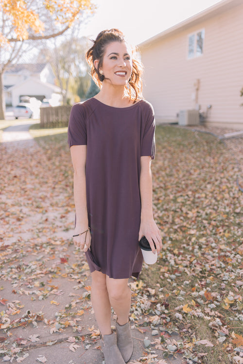 Hampshire T-Shirt Dress *Plum Brown