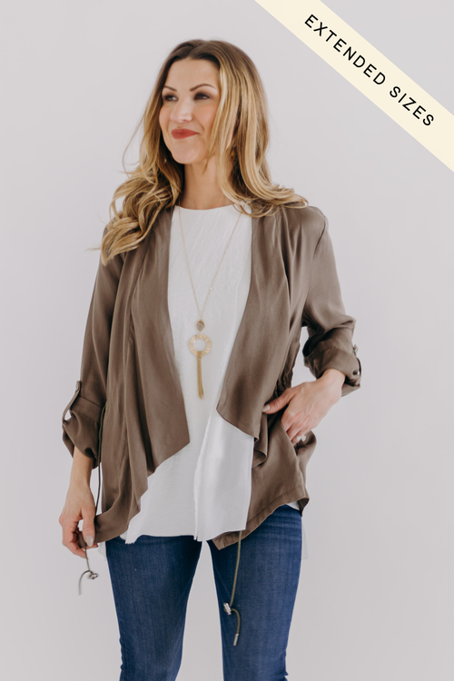 Khaki Drawstring Tencel Jacket