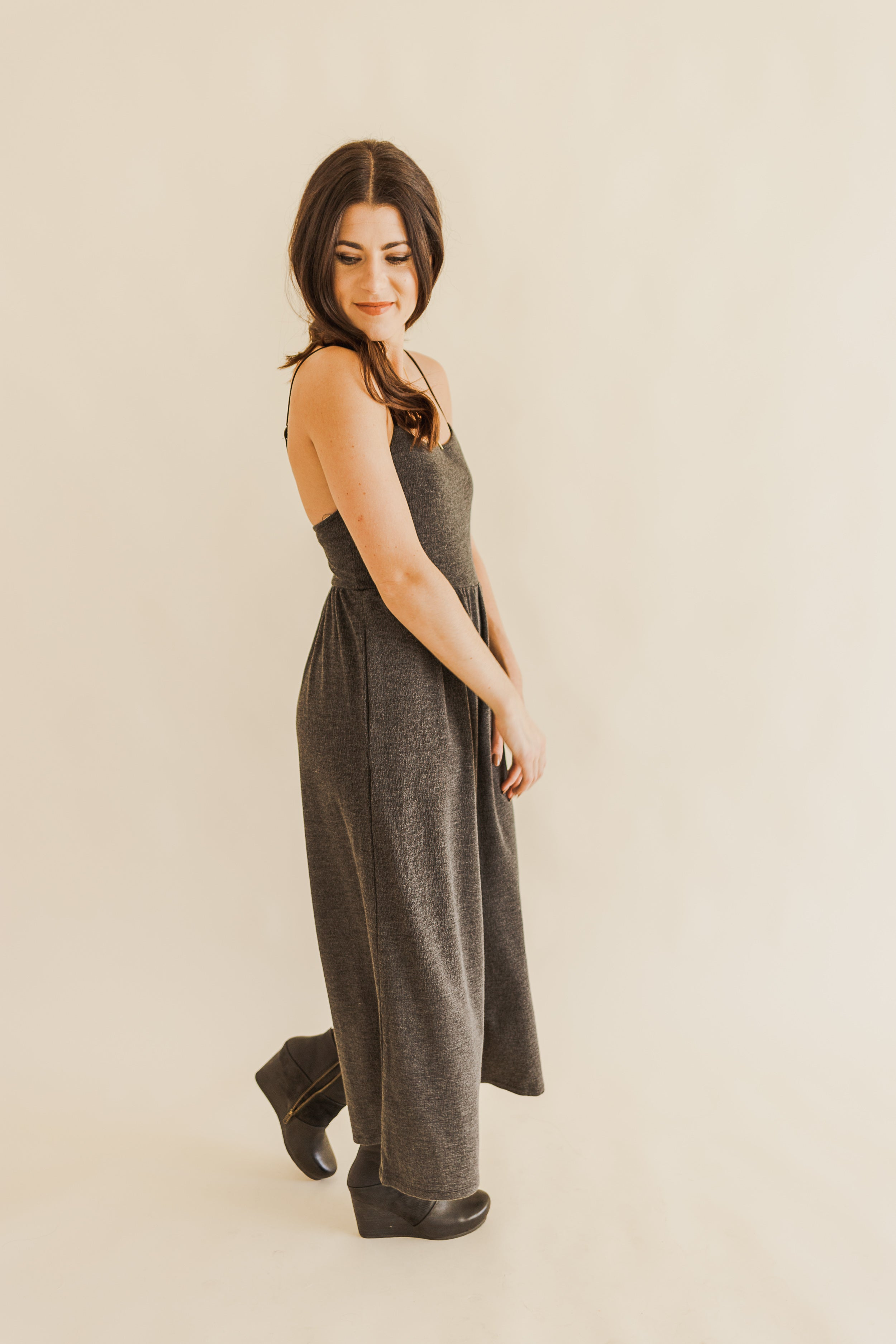 Charcoal Culotte Jumpsuit