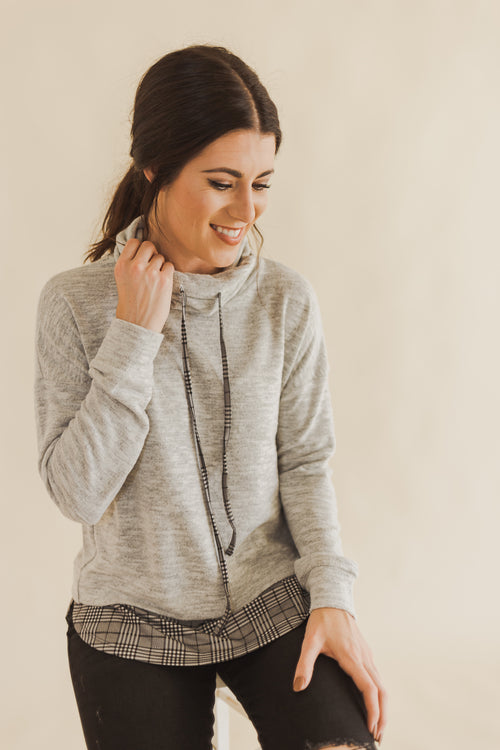 Heather Grey Cowl Neck Sweater