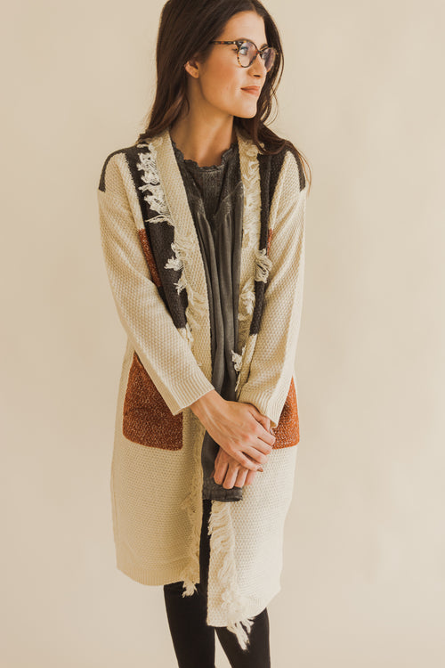 Cream Mix Color Block Fringe Cardigan