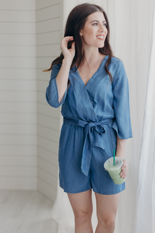 Blue Wash V-Neck Romper