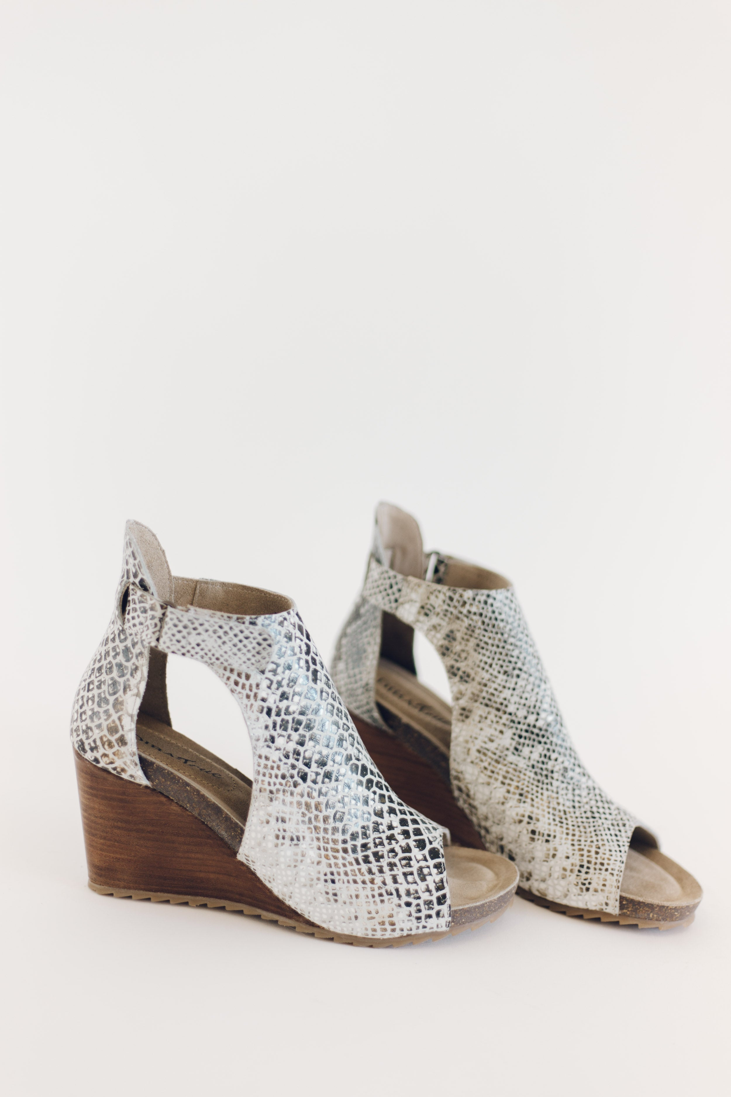 New Year Snake Print Leather Wedge