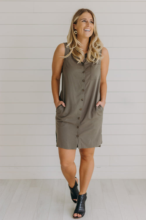 Olive Moss Button-Down Dress