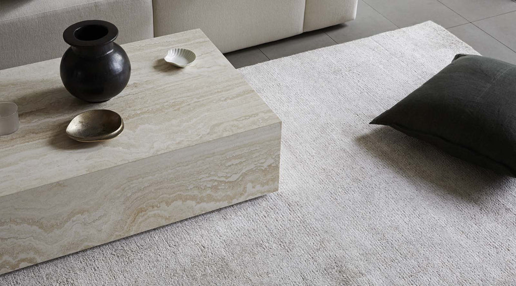 Almonte Oyster rug with Como linen cushion