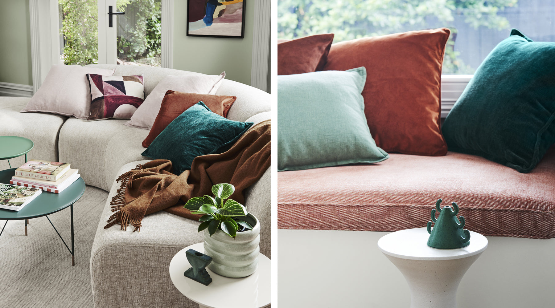Weave cushions on couch with Dulux painted wall