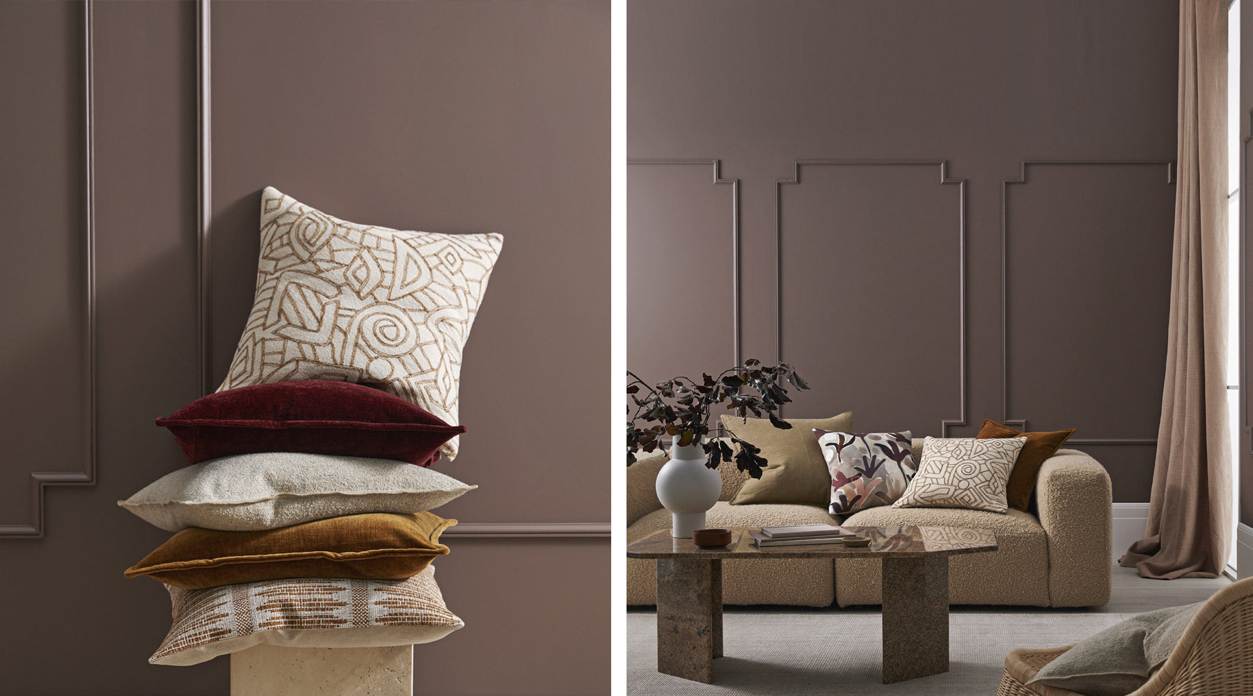 Weave cushions with Dulux painted wall