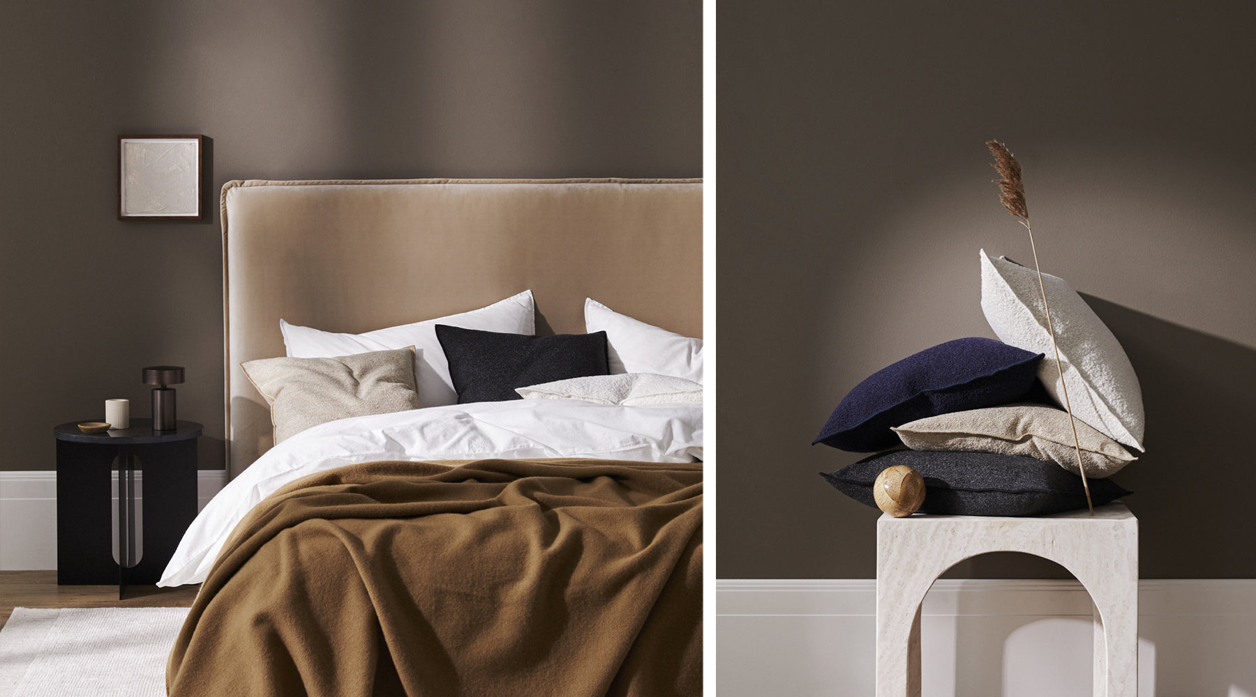 Weave cushions on bed with Dulux painted wall