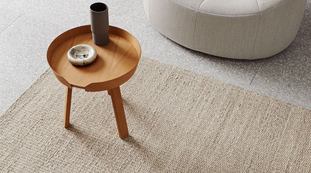 Jimara rug by Weave Home styled with coffee table