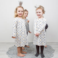 Crown Print Stretchy Organic Cotton Dress - Moon Jelly