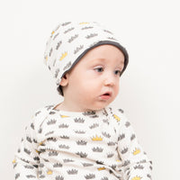 Crown Print Stretchy Organic Cotton Beanie - Moon Jelly