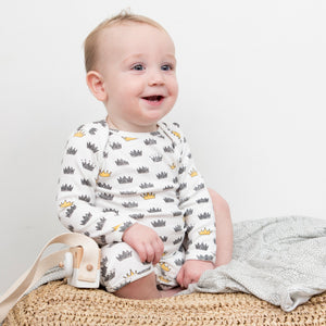 Crown Print Stretchy Organic Cotton Romper - Moon Jelly