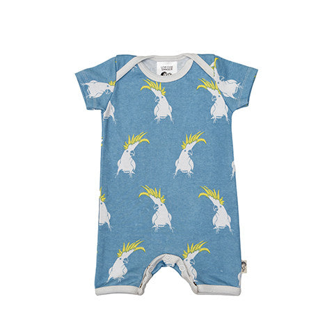 Cockatoo Stretchy Organic Cotton Romper - Moon Jelly