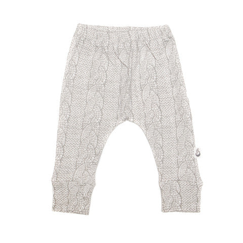 Cable Print Stretchy Organic Cotton Pant - Moon Jelly