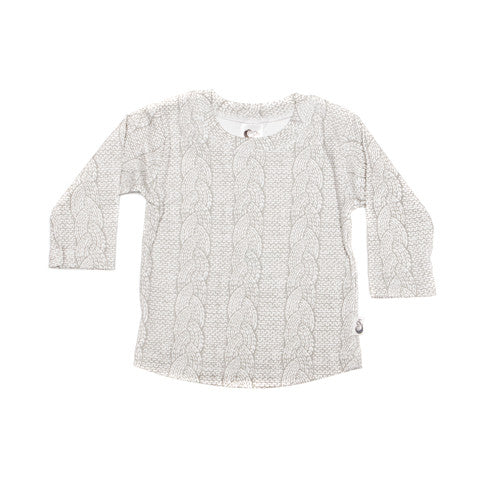 Cable Knit Print Stretchy Organic Cotton T-shirt - Moon Jelly