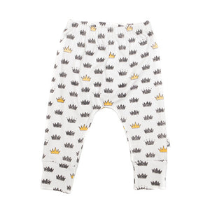 Crown Print Stretchy Organic Cotton Pant - Moon Jelly