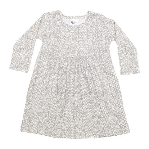 Cable Knit Print Stretchy Organic Cotton Dress - Moon Jelly
