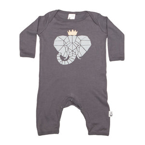 Elephant Crown Stretchy Organic Cotton Romper - Moon Jelly