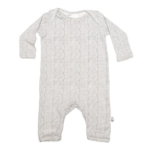 Cable Knit Print Stretchy Organic Cotton Romper - Moon Jelly