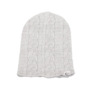 Cable Knit Reversible Slouch Beanie