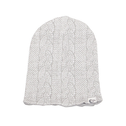 Cable Knit Print Stretchy Organic Cotton Slouch Beanie - Moon Jelly