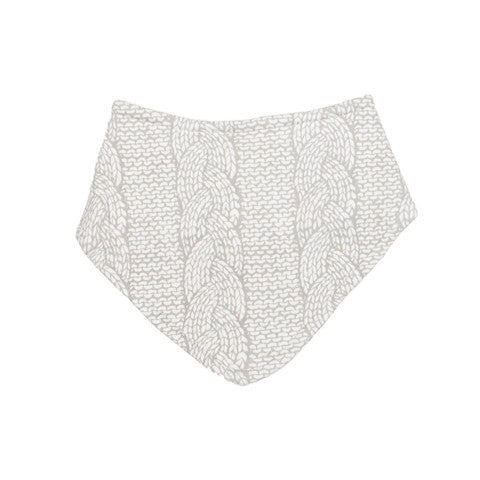 Cable Knit Print Organic Triangle Bib - Moon Jelly