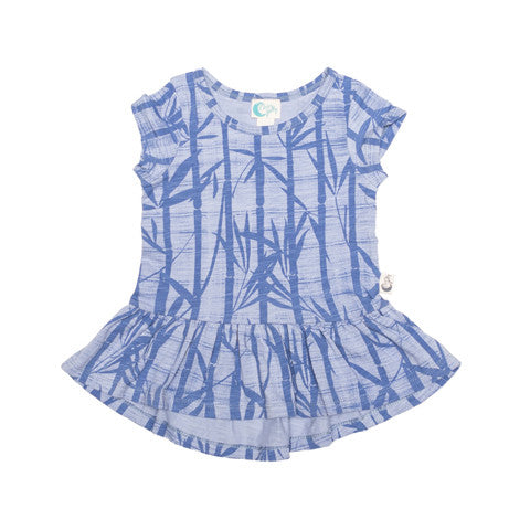 Bamboo Print Organic Cotton Short Sleeve Dress - Moon Jelly