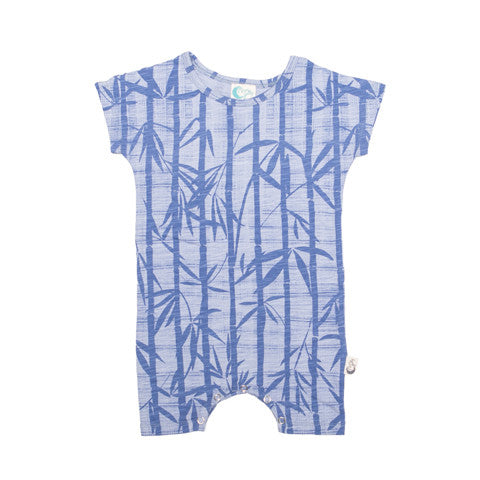 Bamboo Print Organic Cotton Short Romper - Moon Jelly