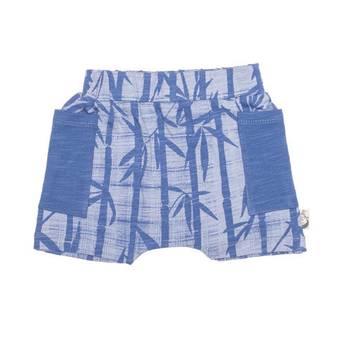 Organic cotton bamboo baby shorts blue