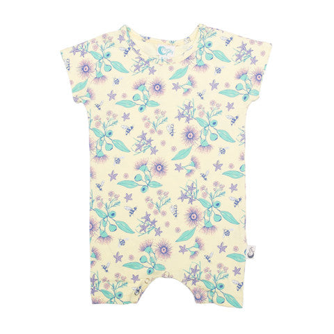 Floral Bee Stretchy Organic Cotton Romper - Moon Jelly