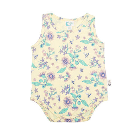 Australian native floral bee organic cotton baby bodysuit Moon Jelly
