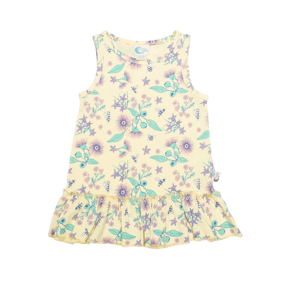 Floral Bee Stretchy Organic Cotton Dress - Moon Jelly
