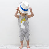Cockatoo Print Stretchy Organic Cotton Tank Romper - Moon Jelly
