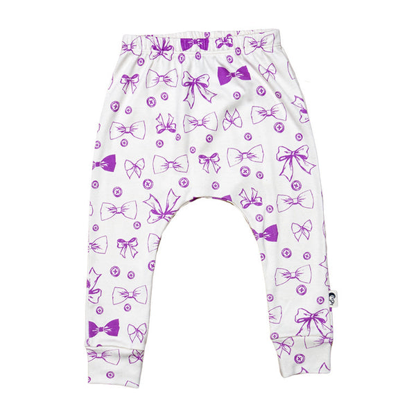 Buttons & Bows Stretchy Organic Cotton Pant - Moon Jelly
