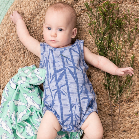 Organic cotton bamboo baby bodysuit blue