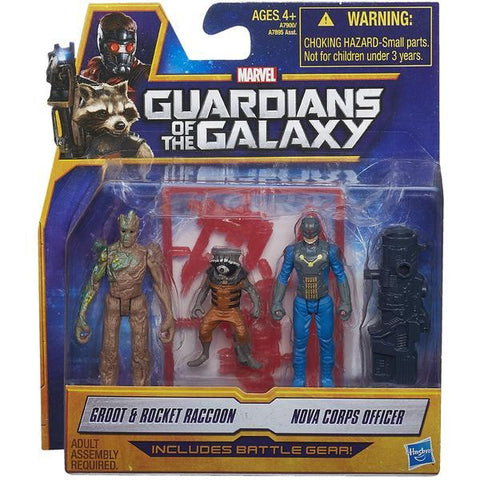 Guardians of the Galaxy - 2-Pack Figures Groot and Rocket Raccoon and Nova Corps Officer