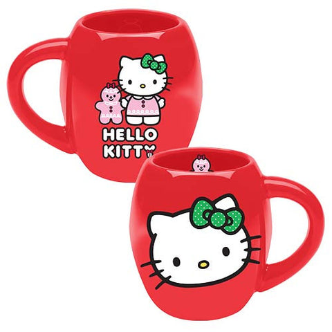 Hello Kitty - Red Holiday Ceramic Oval Mug