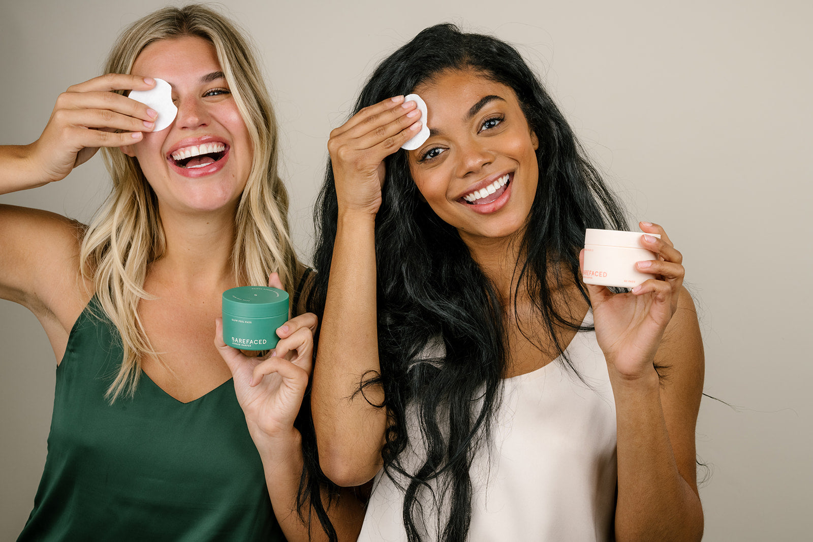 Barefaced skincare models with Glow Peel Pads and Toning Pads II.