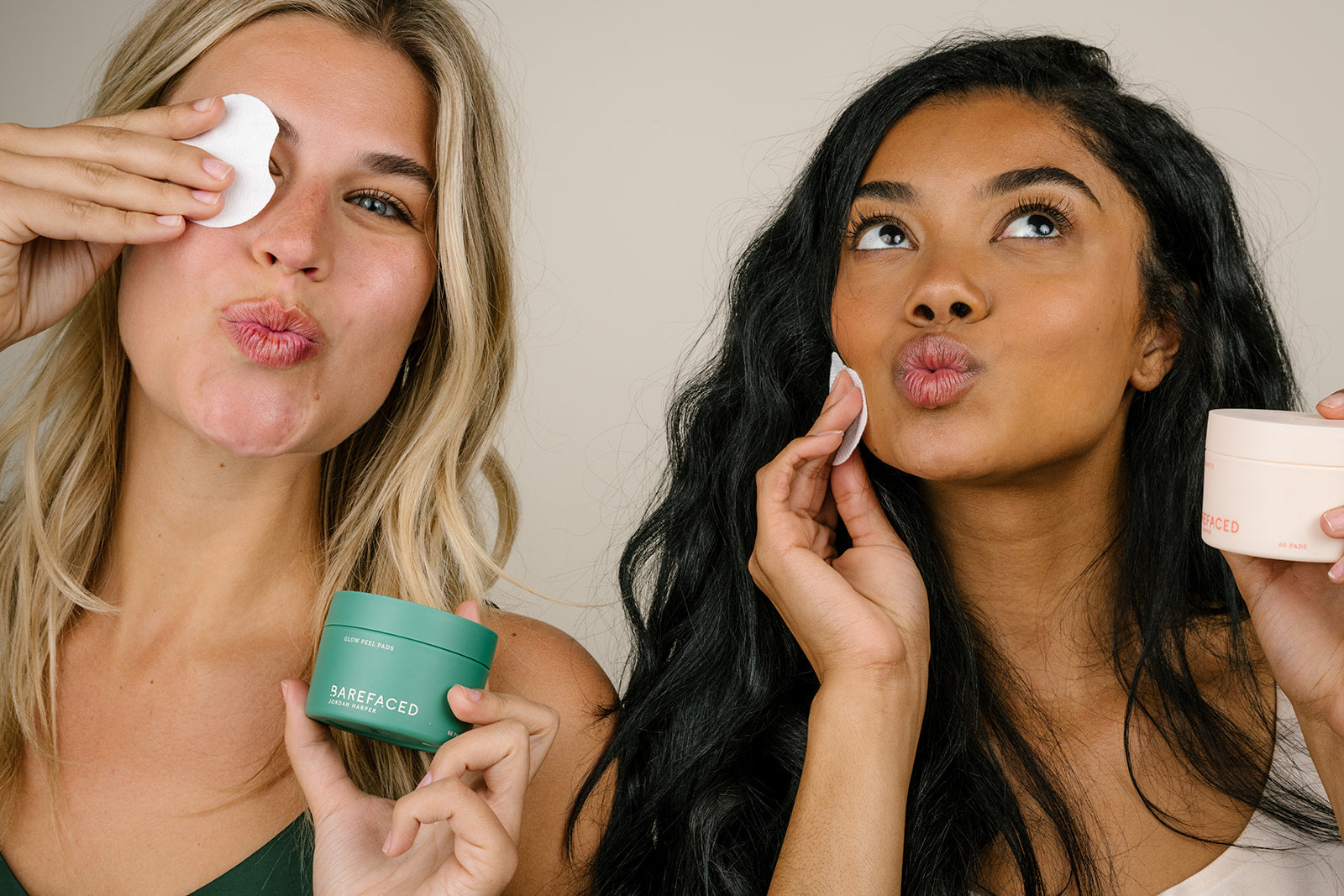 Barefaced models with Glow Peel Pads and Tonings Pads II