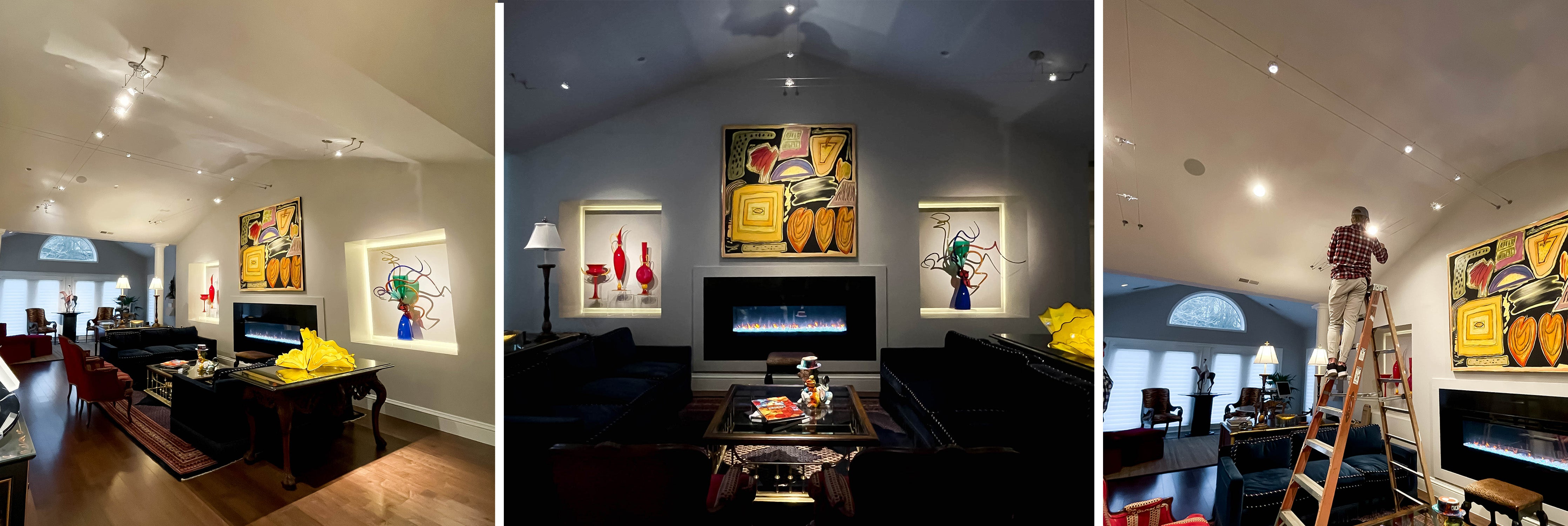 Lighting Design by Lighting and Bulbs Unlimited (Museum Home with gorgeous pieces of art and Kable lighting through the living room space)