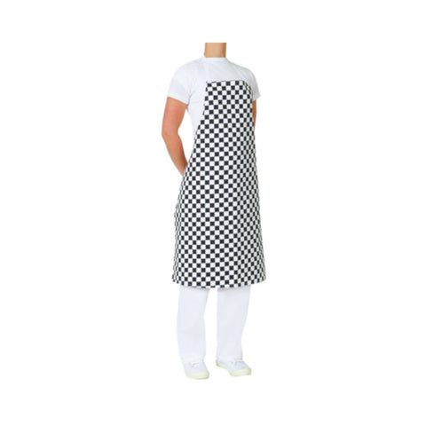 Printed Cotton Bib Apron Black/White Check Aussie Chef (no pocket)