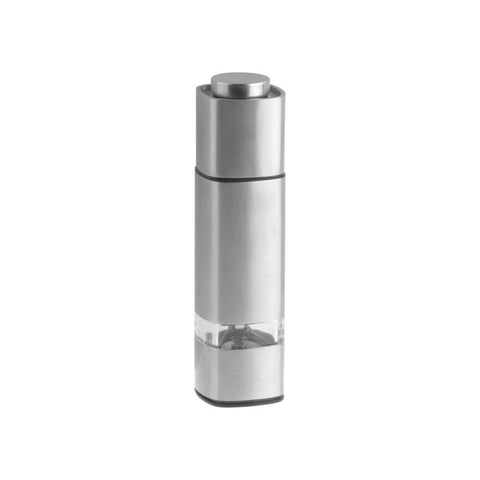 """Leto"" Square Ceramic Pepper Mill - Stainless Steel"