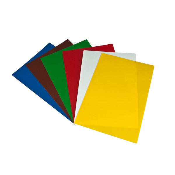 380x510mm Cutting Board Mat - Set - Anti-Slip 1 each of Blue, Brown, Green, Red, White, Yellow