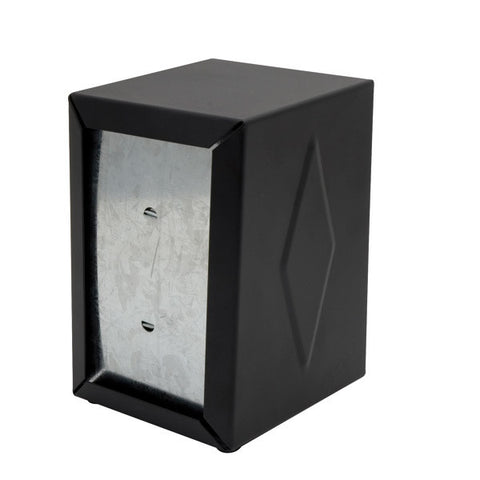 """D"" Fold - Black Napkin Dispenser - Stainless Steel"