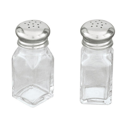 60ml Salt & Pepper Shaker - Square - Stainless Steel Top / Glass Body