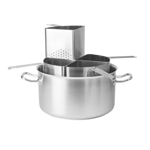 20 Litre 5 Piece Pasta Cooker - 18/10 Stainless Steel Pot Complete with 4 Stainless Steel Inserts