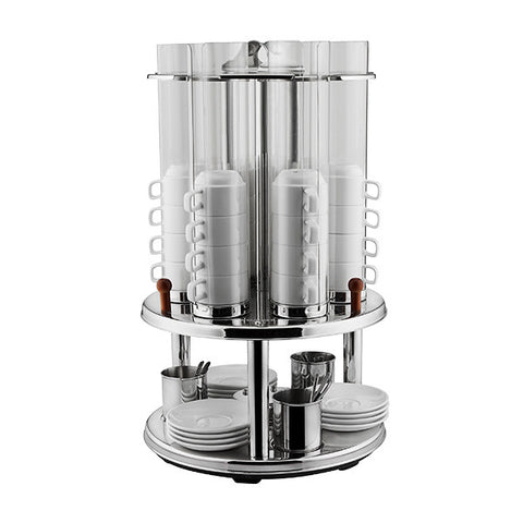 Revolving Cup Dispenser Stainless Steel Frame with Acrylic Cup Chambers 3 Removable containers for teaspoons