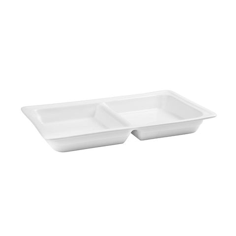 1/1 size with 1 divider Porcelain Food Pan 65mm Depth - White